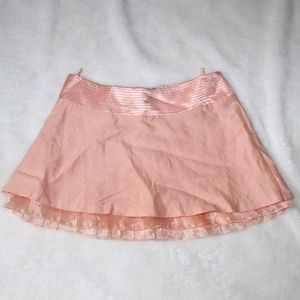 Bebe Linen Salmon Coral Pink Skirt Size 8